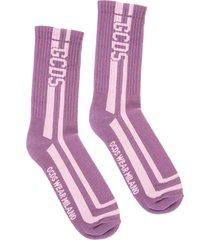 gcds woman purple socks with pink logo
