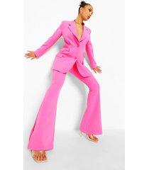 broek met wijd uitlopende pijpen en zijsplit, bright pink