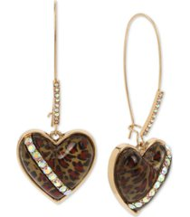 betsey johnson gold-tone crystal leopard animal-print heart drop earrings
