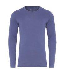 t- shirt masculina manga longa decote careca regular fit algodão pima - azul