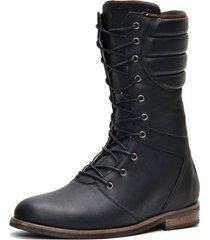 coturno masculino cano médio em couro shoes grand preto 56300-2