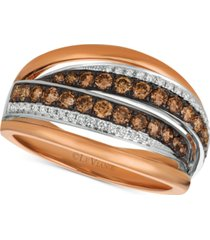 le vian chocolatier diamond ring (7/8 ct. t.w.) in 14k rose gold & white gold
