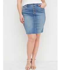 lane bryant women's medium wash denim skirt - exposed button fly 26 medium denim