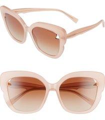 women's tiffany & co. 56mm square cat eye sunglasses - opal pink/ brown gradient