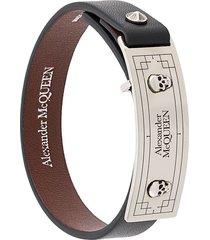 alexander mcqueen skull and stud embellished bracelet - black