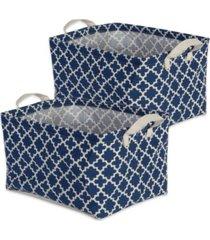 design imports polyethylene coated cotton polyester laundry bin lattice rectangle extra large set of 2