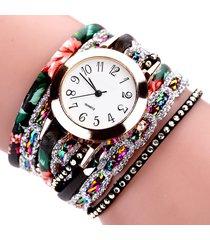 orologi da donna in pelle fiore strass bracciali tondo quadrante orologi di lusso per le donne