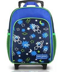mochila com rodinhas infantil tam. p foguete jacki design sapeka azul