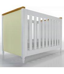 berço 2x1 tudor branco / amadeirado cabeceira estofada timber