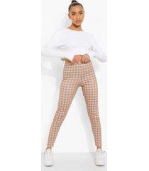 monochrome geruite leggings, brown