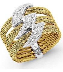 18k gold, stainless steel & diamond ring