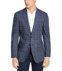 calvin klein men's slim-fit blue plaid wool sport coat