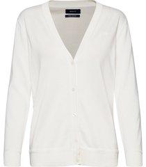 light cotton vneck cardigan gebreide trui cardigan wit gant