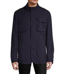 corneliani men's connected wool-blend field jacket - navy - size 58 (48) r