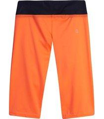leggings deportivo corto con pretina color naranja, talla m