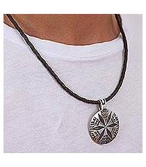 sterling silver and leather pendant necklace, 'crop circle' (mexico)