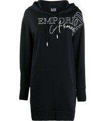 ea7 emporio armani logo-print hooded longline sweatshirt - black