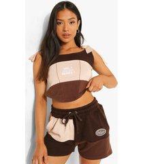 petite colour block shorts, brown