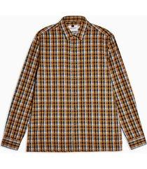 mens blue and brown check slim shirt