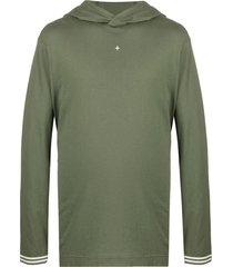 stone island two-tone lightweight hoodie - green