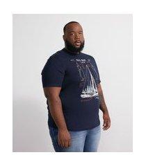 camiseta manga curta em algodão estampa barco - plus size | marfinno | azul | eg i