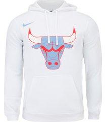 blusão de moletom com capuz nike nba chicago bulls logo po flc - masculino - branco