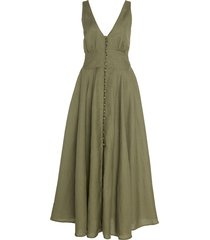 angela buckle-detailed linen maxi dress