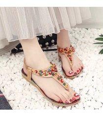 verano rhinestone informal las sandalias de las mujeres planas zapatos