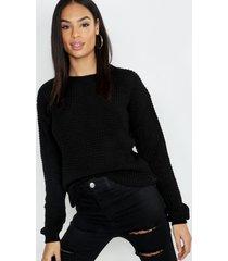 tall wafel gebreide trui, zwart