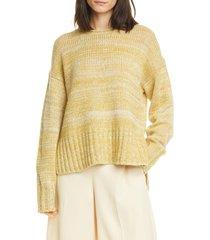 women's vince camuto marled slit sweater, size medium - yellow