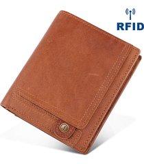 rfid antimagnetico vera pelle raccoglitore tascabile a taschino per monete con tasca multi-slot per uomo