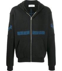 adish embroidered detail hoodie - black