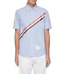 diagonal stripe short sleeve oxford shirt