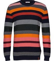 striped o-neck knit - gots gebreide trui met ronde kraag multi/patroon knowledge cotton apparel