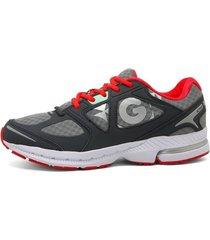 zapatillas golty active track - gris/rojo