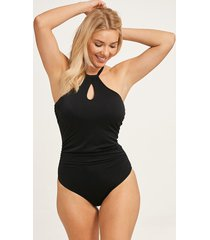 black remix underwire high neck one-piece swimsuit