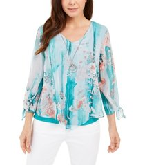 jm collection printed tie-sleeve necklace top, created for macy's