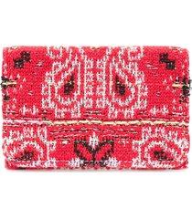 coohem knit tweed bandana cardholder - red