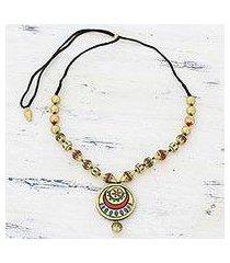 ceramic pendant necklace, 'glorious gold' (india)