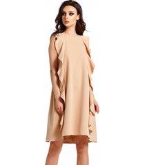 sukienka bez rękawów z falbanami