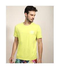 """camiseta masculina feline alma de verão"""" manga curta gola careca verde"""""""