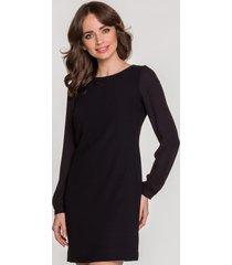 sukienka annika szyfonowy rękaw czarny annika
