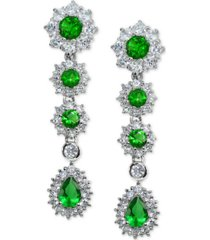 cubic zirconia green statement drop earrings in sterling silver