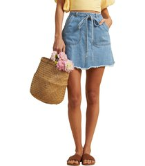 women's billabong x the salty blonde tied up denim skirt, size 31 - blue