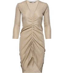 knitted drawstring lurex dress knälång klänning beige ivyrevel