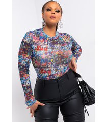 akira plus prints all over long sleeve mesh bodysuit