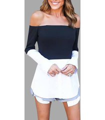 black & white off shoulder long sleeves t-shirt
