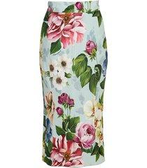 floral print cady pencil skirt