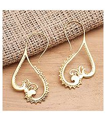 gold plated drop earrings, 'keramas waves' (indonesia)