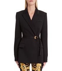 women's versace belted stretch wool blazer, size 2 us / 38 it - black